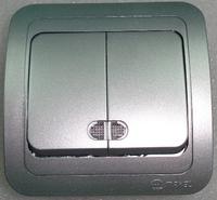 Makel Mimoza выключатель 2кл. с подсв. серебро 23423