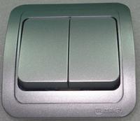 Makel Mimoza выключатель 2кл. серебро 23403