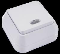 Makel SIVA USTU выключатель 1 кл. проходной с подсв. белый 45125