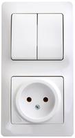 Schneider electric GLOSSA БЛОК: розетка+ 2-кл. выкл., белый GSL000172