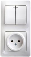 Schneider electric GLOSSA БЛОК: розетка+ 2кл. выкл. с подсв. белый GSL000173