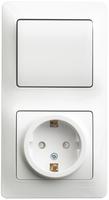 Schneider electric GLOSSA БЛОК: розетка с заземлением со шторками + 1кл. выкл., белый GSL000170