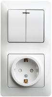 Schneider electric GLOSSA БЛОК: розетка с заземлением со шторками+ 2-кл. выкл. с подсв., белый GSL000175