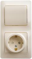 Schneider electric GLOSSA БЛОК: розетка с заземлением со шторками+1-кл. выкл. крем GSL000270