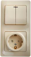 Schneider electric GLOSSA БЛОК: розетка с заземлением со шторками+2-кл. выкл. с подсв,крем GSL000275