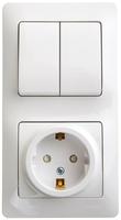 Schneider electric GLOSSA БЛОК: розетка с заземлением со шторками+2кл. выкл., белый GSL000174