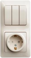 Schneider electric GLOSSA БЛОК: розетка с заземлением со шторками+3-кл.выкл, крем GSL000278