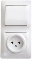 Schneider electric GLOSSA БЛОК: розетка+1-кл. выкл., белый GSL000160