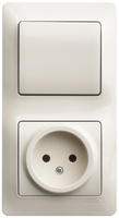 Schneider electric GLOSSA БЛОК: розетка+1-кл. выкл. крем GSL000260