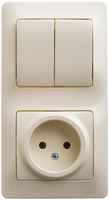 Schneider electric GLOSSA БЛОК: розетка+2-кл. выкл. крем GSL000272