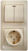 Schneider electric GLOSSA БЛОК: розетка+2-кл. выключатель с подсв.крем GSL000273