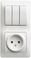 Schneider electric GLOSSA БЛОК: розетка+3-кл. выкл. белый GSL000176