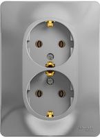 Schneider electric GLOSSA РОЗЕТКА двойная с заземлением, АЛЮМИНИЙ GSL000324