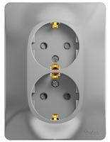 Schneider electric GLOSSA РОЗЕТКА двойная с заземлением со шторками, АЛЮМИНИЙ GSL000326
