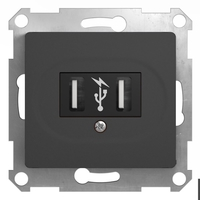 Schneider electric GLOSSA USB РОЗЕТКА, 5В /1400 мА, 2 х 5В /700 мА, механизм, АНТРАЦИТ GSL000732