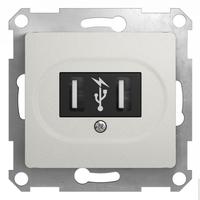 Schneider electric GLOSSA USB РОЗЕТКА, 5В /1400 мА, 2 х 5В /700 мА, механизм, ПЕРЛАМУТРОВЫЙ GSL000632