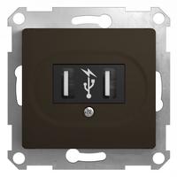Schneider electric GLOSSA USB РОЗЕТКА, 5В /1400 мА, 2 х 5В /700 мА, механизм, ШОКОЛАД GSL000832