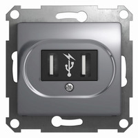 Schneider electric GLOSSA USB РОЗЕТКА, АЛЮМИНИЙ GSL000332