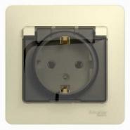 Schneider GLOSSA розетка с/з с крышкой/шторкой IP20 крем в сборе GSL000246
