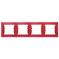 Schneider SEDNA рамка 4-я горизонт красная SDN5800741