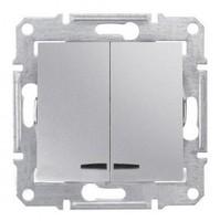 Schneider SEDNA выключатель 2кл. с подсв. алюминий SDN0300360