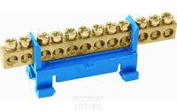 "TDM Шина ""N"" нулевая с изолятором на DIN-рейку 6x9мм стойка мал. 15 групп SQ0801-0015"