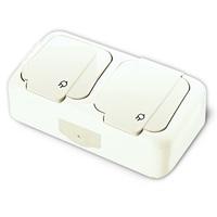 Vi-ko Palmiye блок Розетка 2-я с крышкой IP54 открытая установка белый 90555488