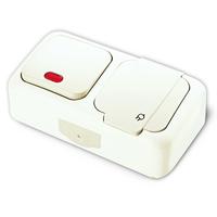 Vi-ko Palmiye блок В1 с подсветкой+Розетка с крышкой IP54 открытая установка белый 90555499