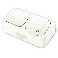 Vi-ko Palmiye блок В1+Розетка с крышкой IP54 открытая установка белый 90555481