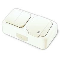 Vi-ko Palmiye блок В2+Розетка с крышкой IP54 открытая установка белый 90555482