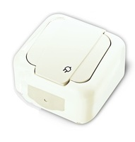 Vi-ko Palmiye розетка с крышкой IP54 открытая установка белая 90555408