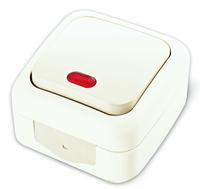 Vi-ko Palmiye выключатель 1 кл. с подсветкой IP54 открытая установка белый 90555419